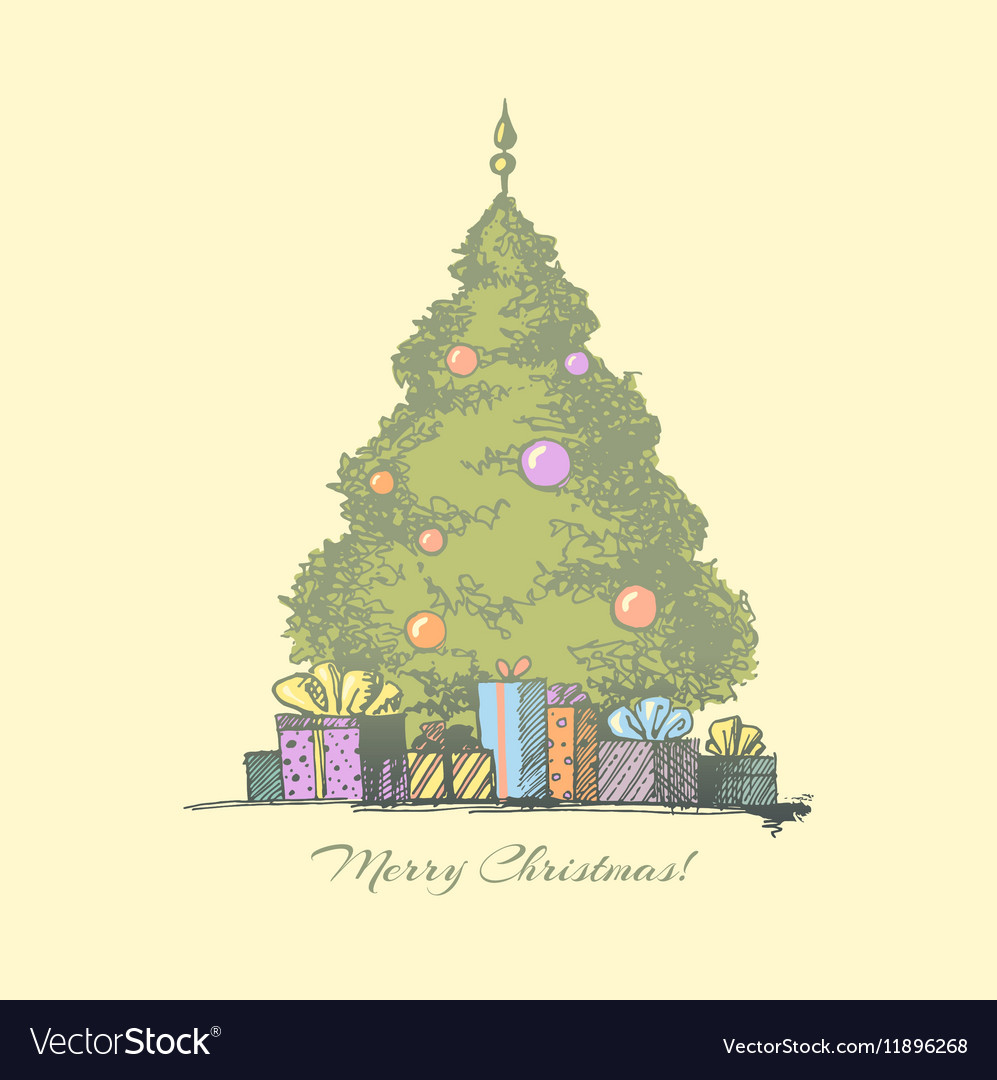 Christmas Tree With Presents Royalty Free Vector Image