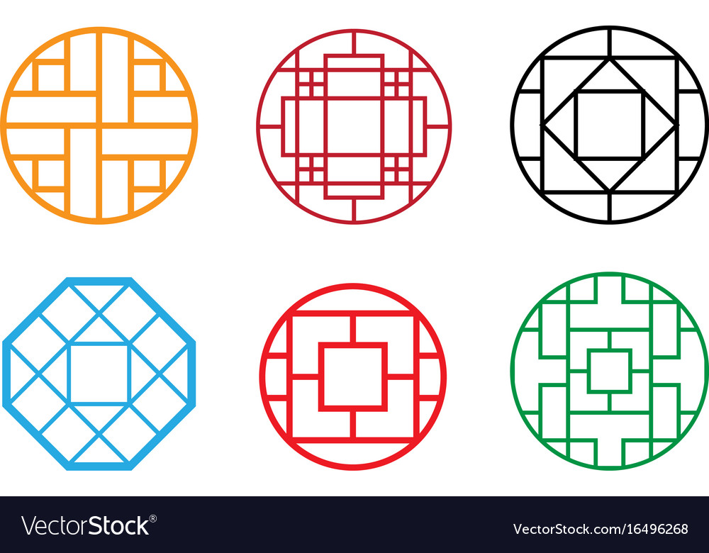 Circle chinese pattern window frame Royalty Free Vector