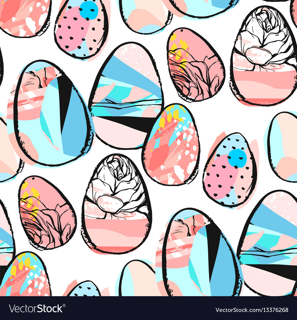Easter egg pattern background vector image