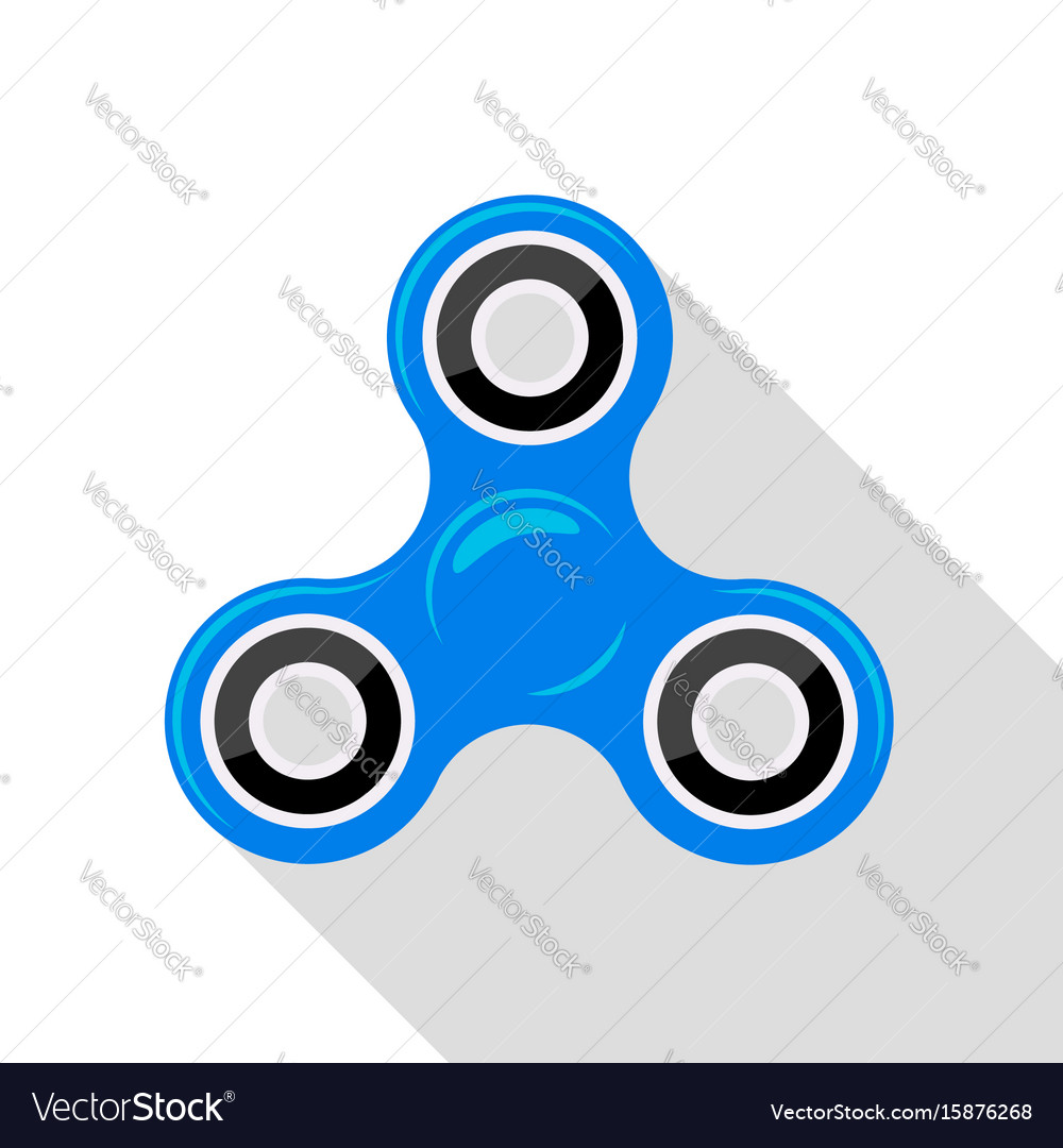 Flat design blue hand spinner no gradient or vector image
