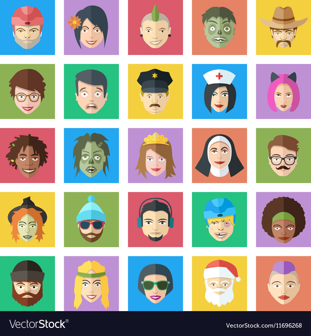 Funny colorful characters set Flat style people