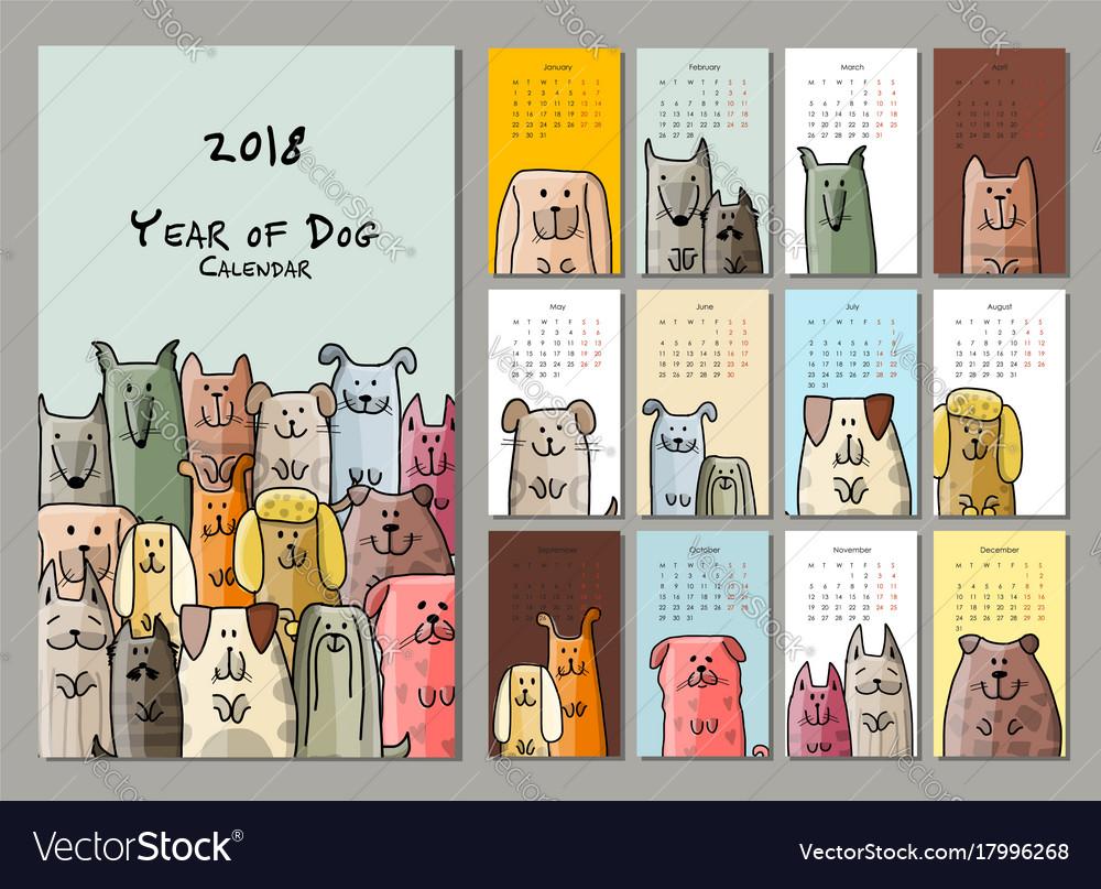 Funny dogs calendar 2018 design Royalty Free Vector Image