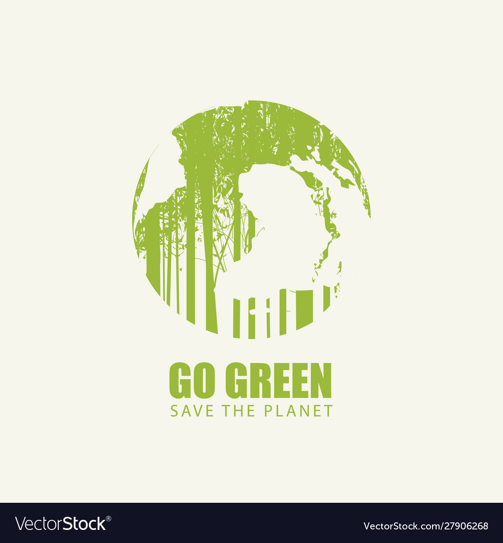Go green eco poster concept save planet