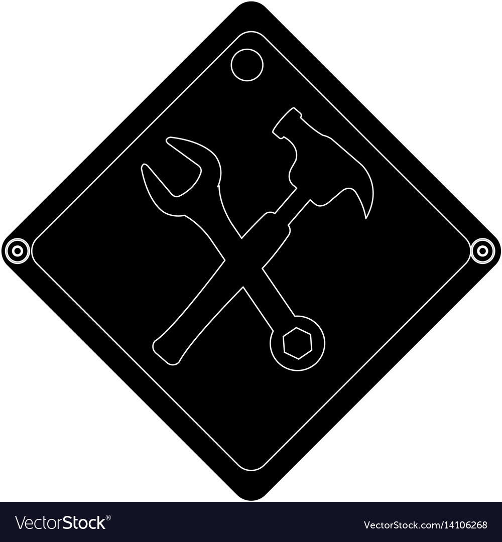 Hammer and wrench tools isolated icon