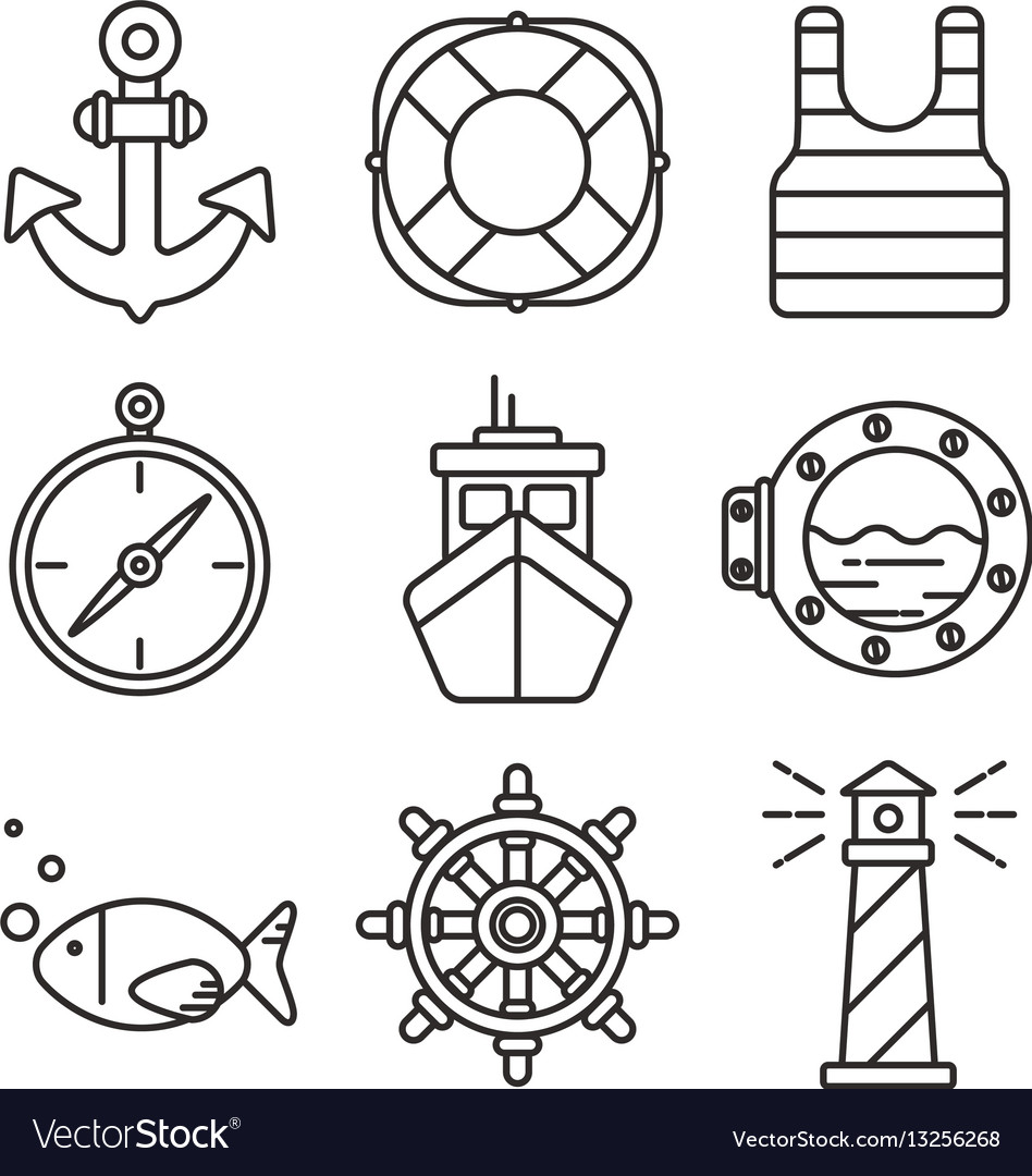 172d8e638 Nautical or sea trip black outline icons isolated