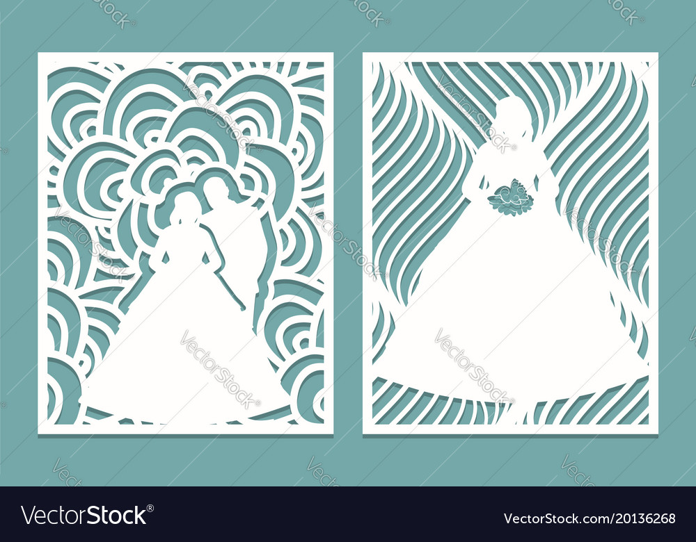 Set of die laser cut card with the silhouette of vector image