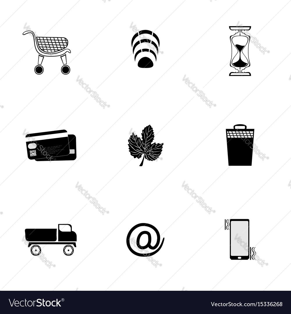 Web icons set black on white background