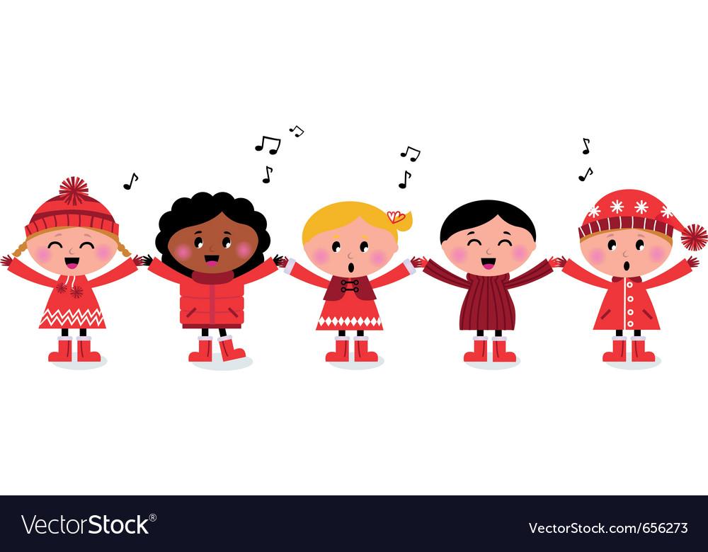 Caroling multicultural kids
