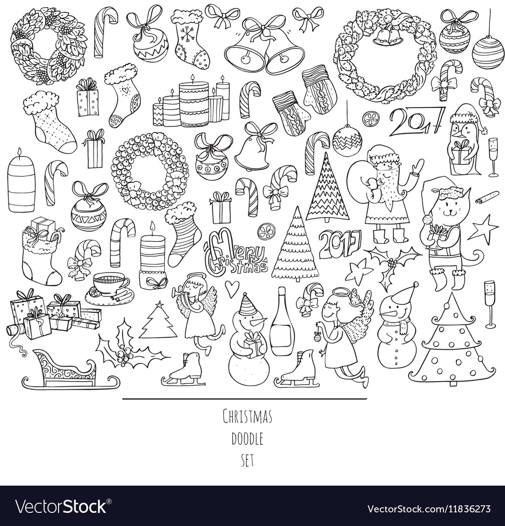 hand drawn doodles in simple Vector Image