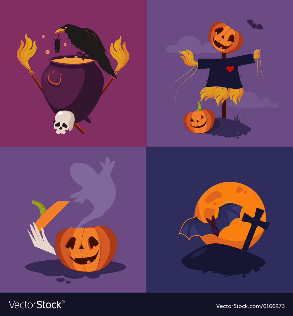 Halloween Pumpkin Cauldron and Scarecrow
