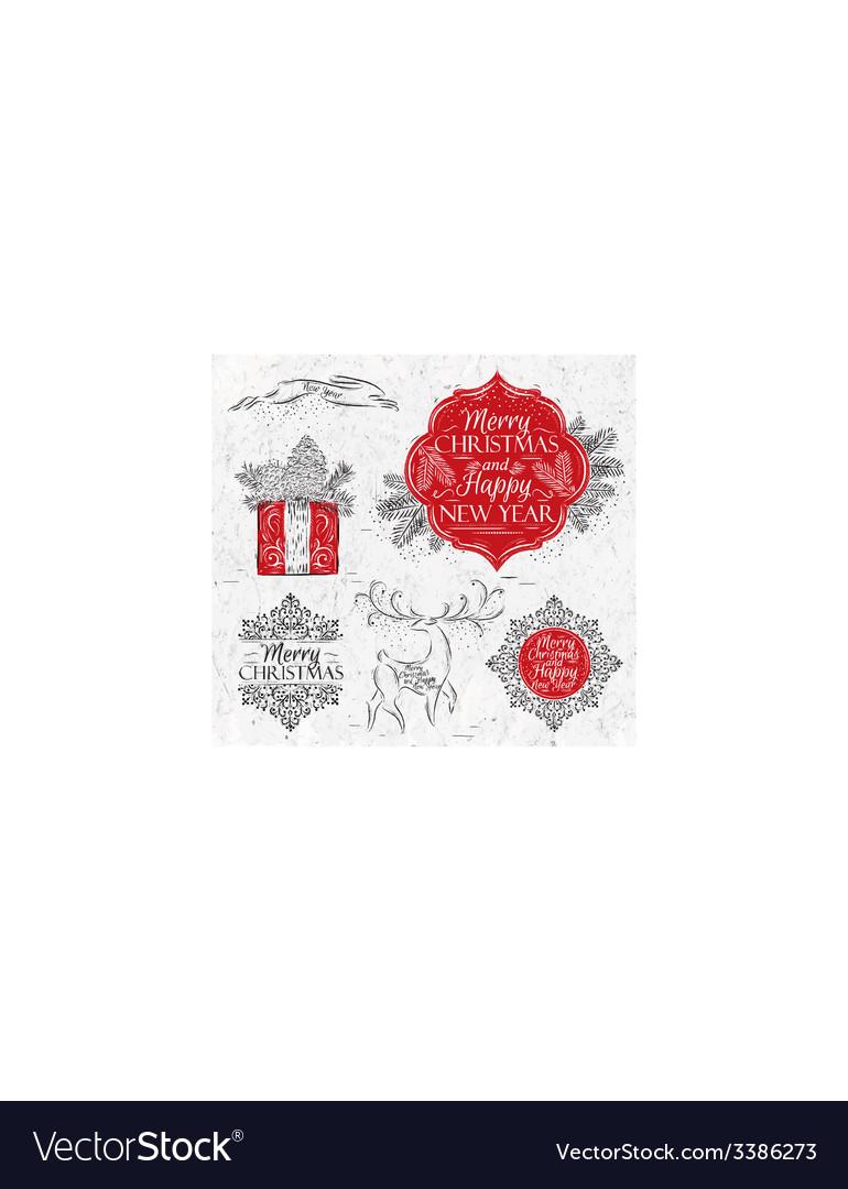 Merry Christmas graphics elegant vintage vector image