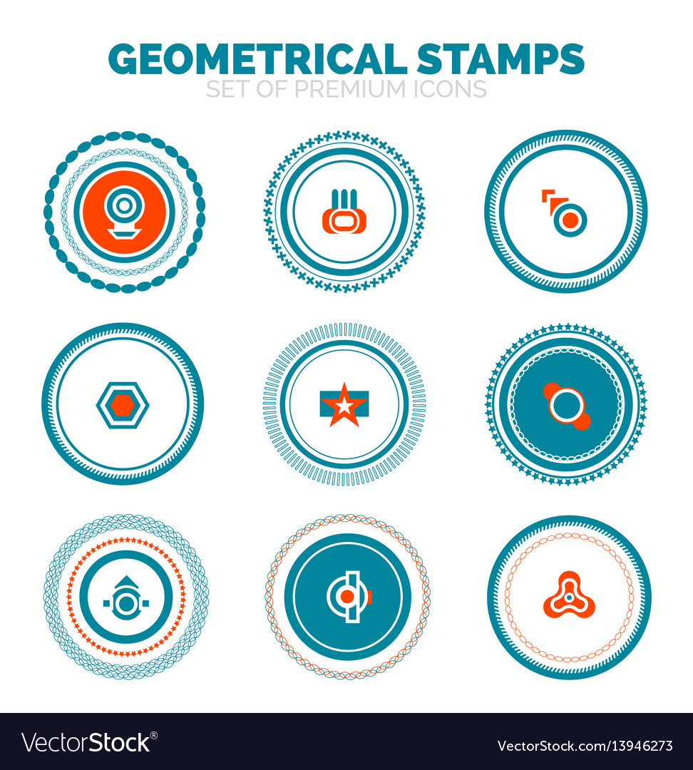 Set of abstract geometrical round stamps