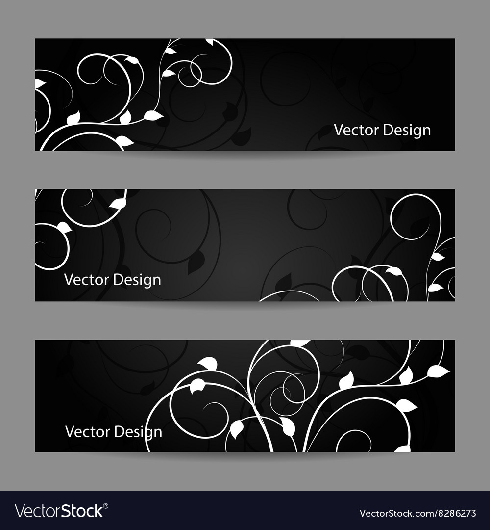 Set of horizontal banners with plant pattern