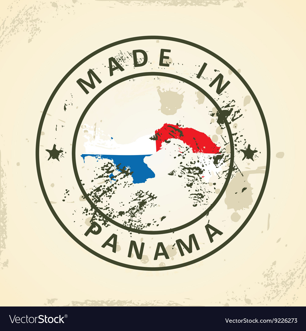 ddb04b41 Stamp with map flag of Panama Royalty Free Vector Image
