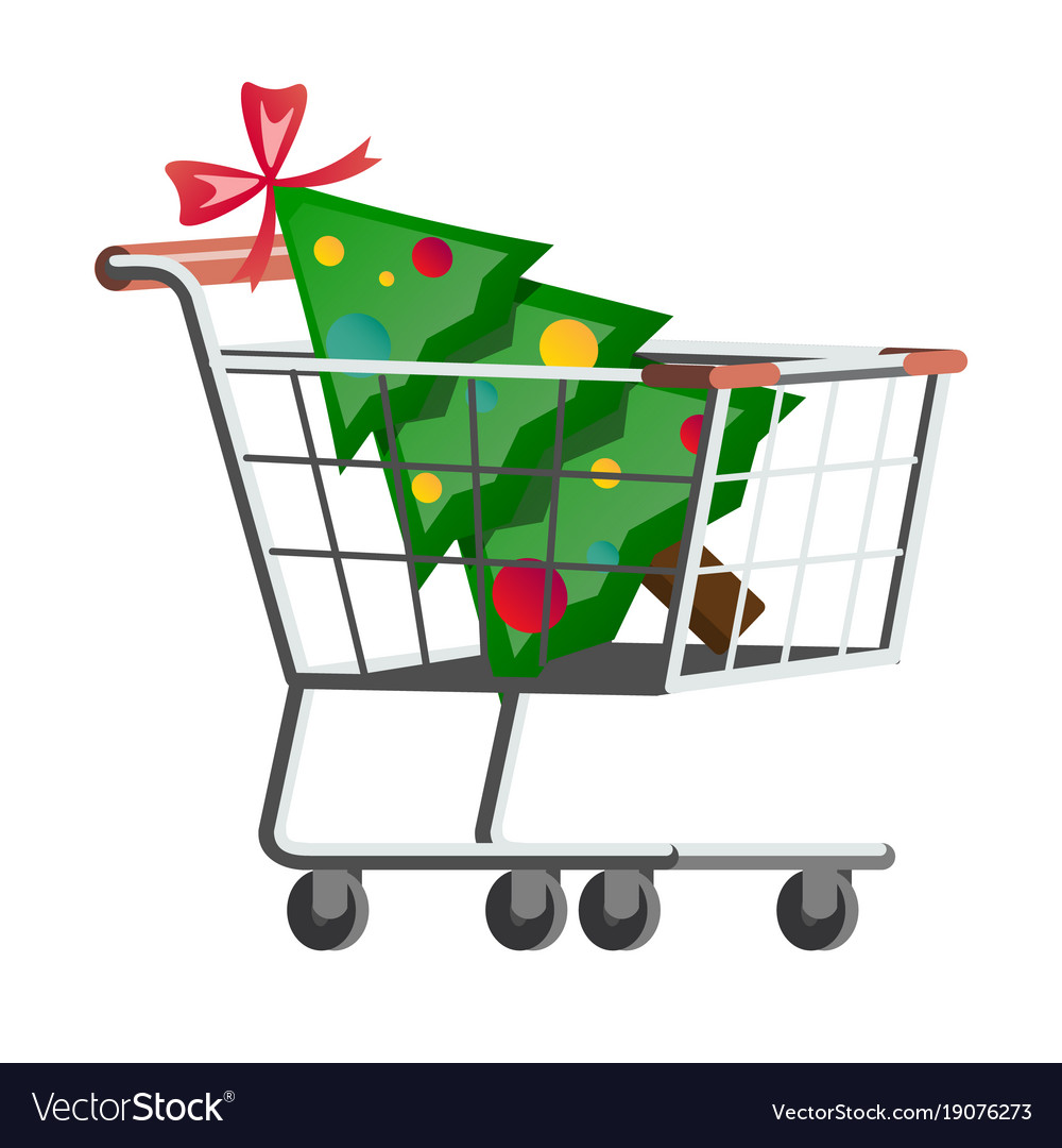 Supermarket cart with christmas tree