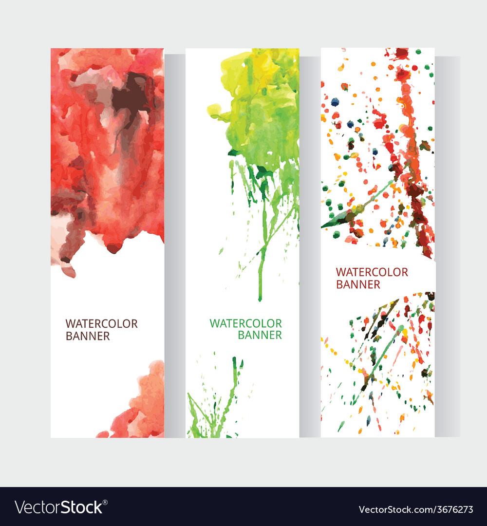 Vertical business banner set with abstract rainbow