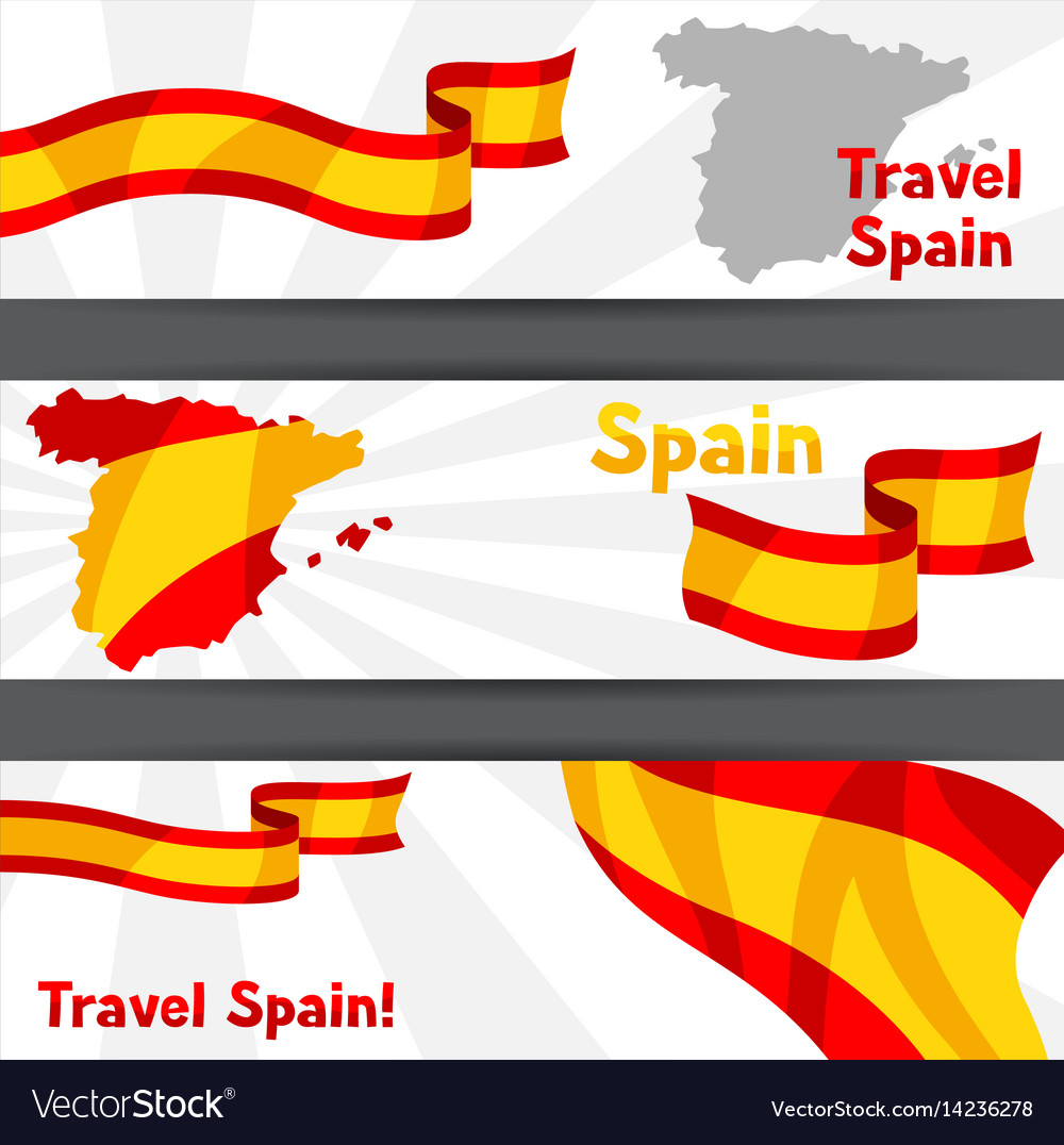 Spanish Map Of Spain.Banners With Flag And Map Of Spain Spanish Vector Image