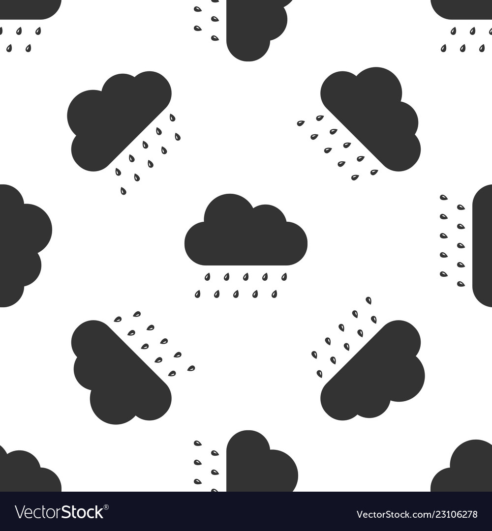 Cloud with rain icon seamless pattern