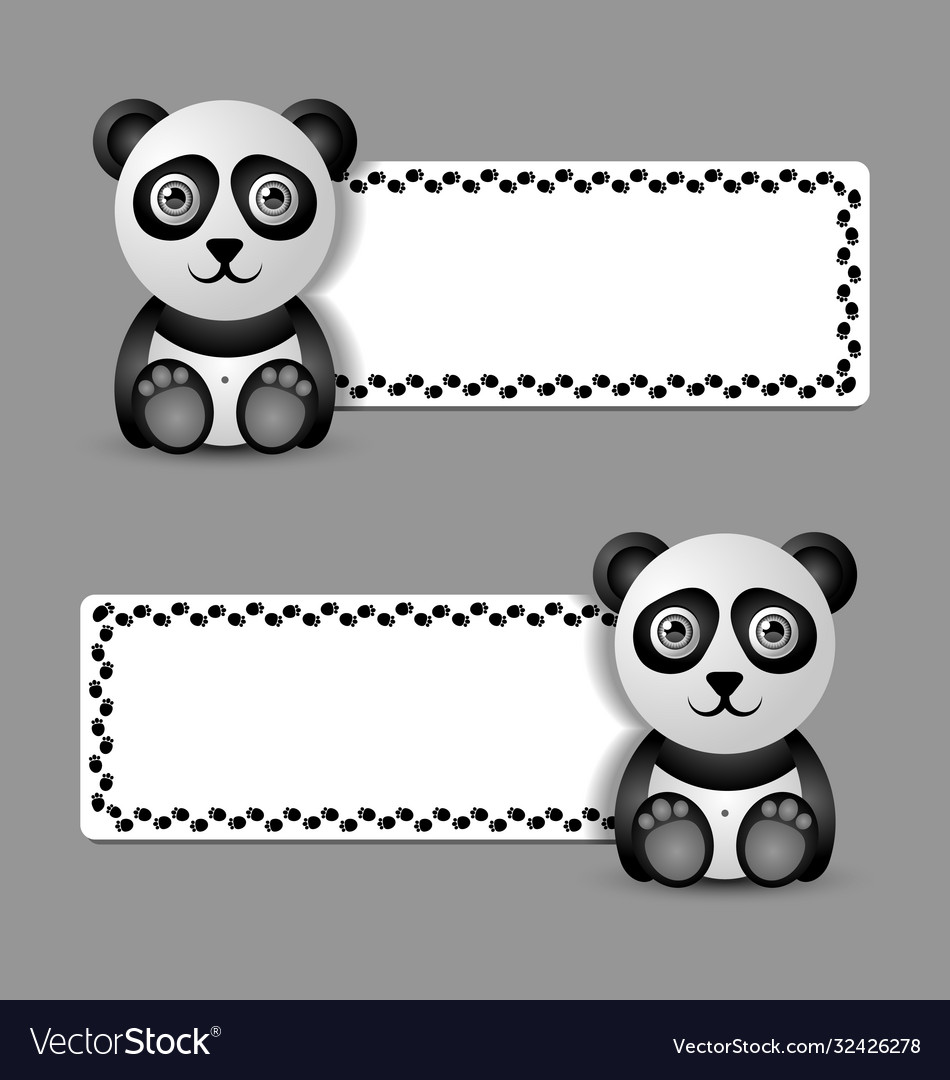 Cute and funny panda character with banner