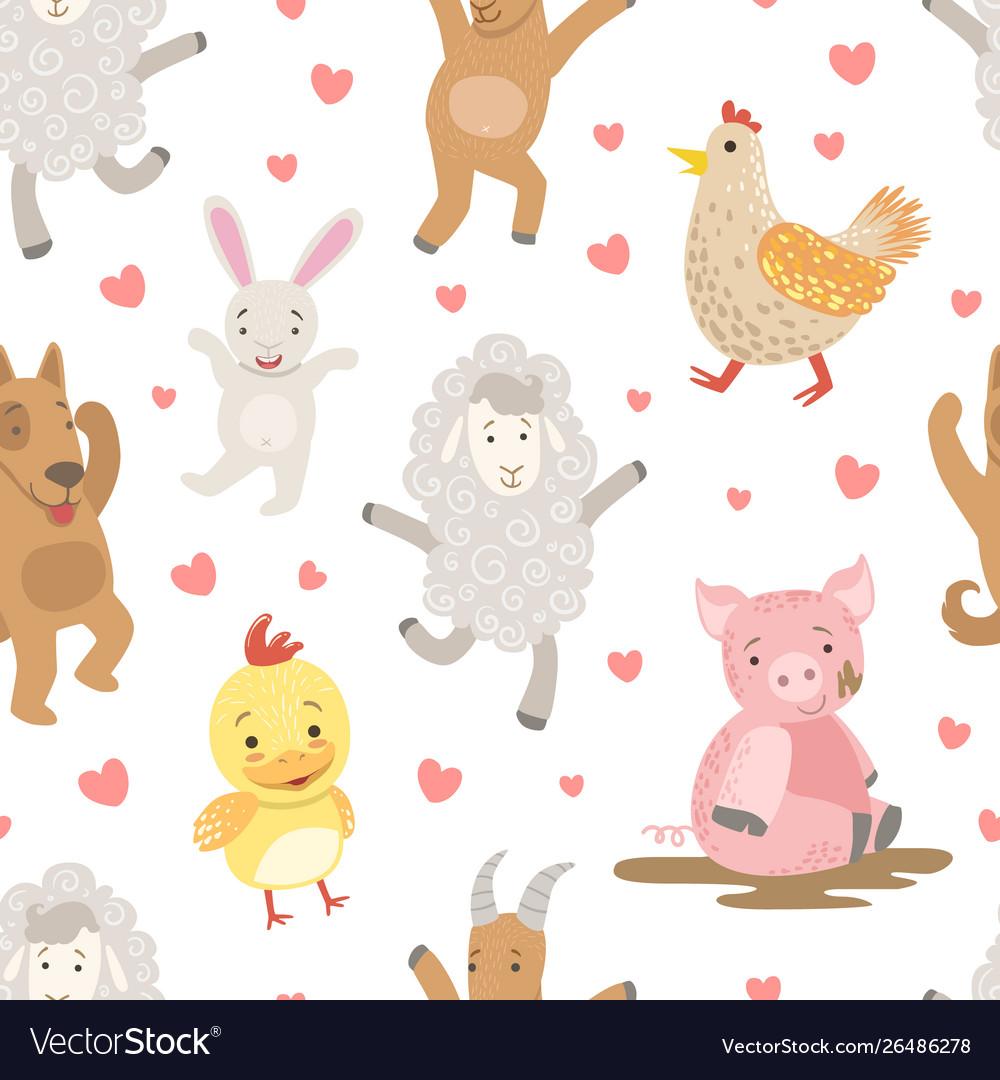Cute farm animals childish seamless pattern dog