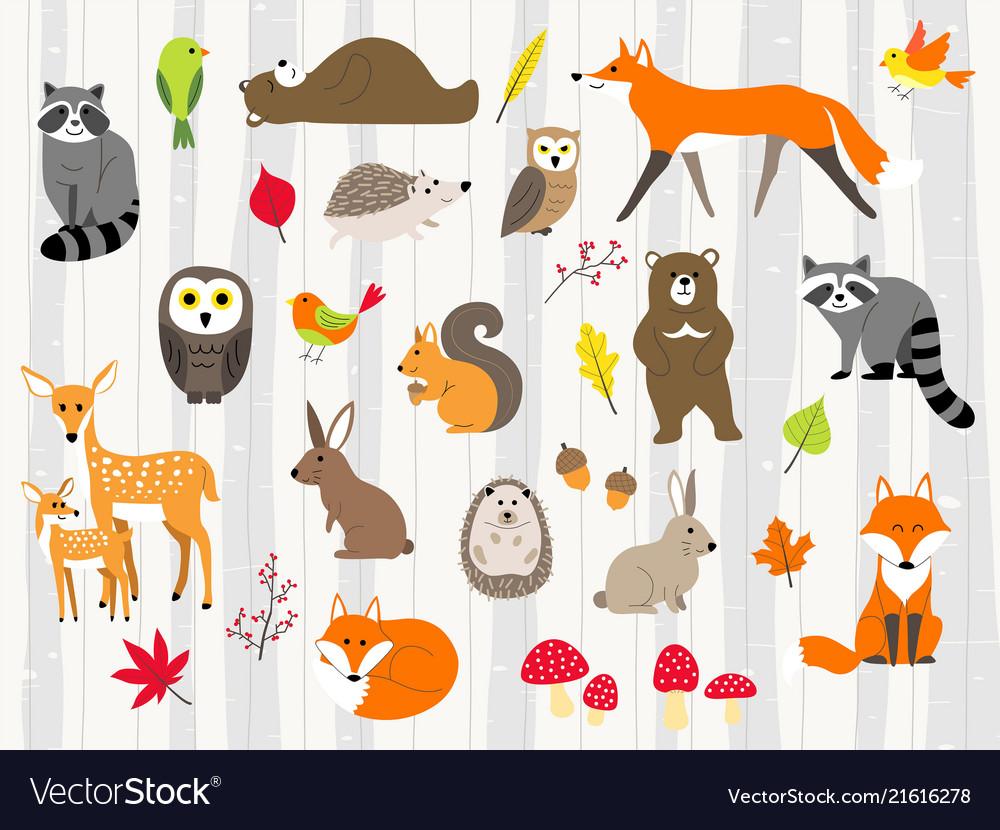 Cute wild animals cartoon set
