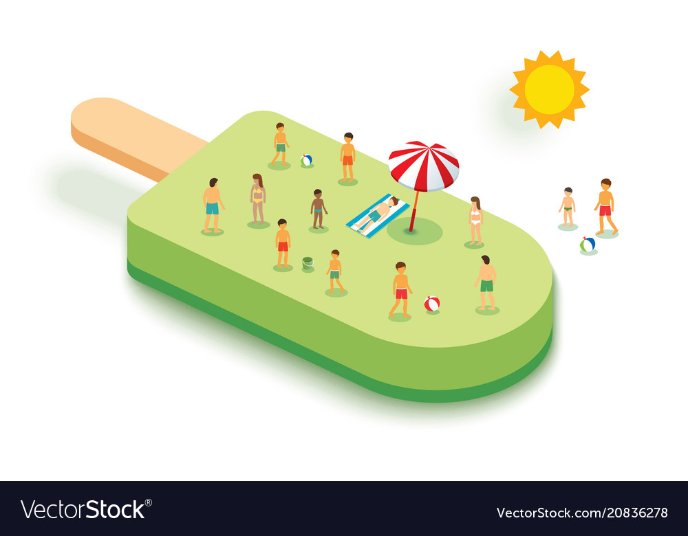 Ice cream for summer vacation concept with people vector image