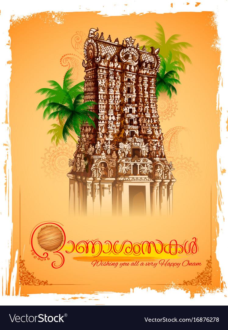 Meenakshi temple on background for happy onam
