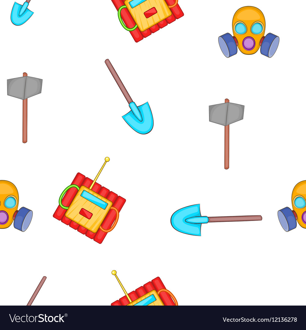 Mining elements pattern cartoon style vector image