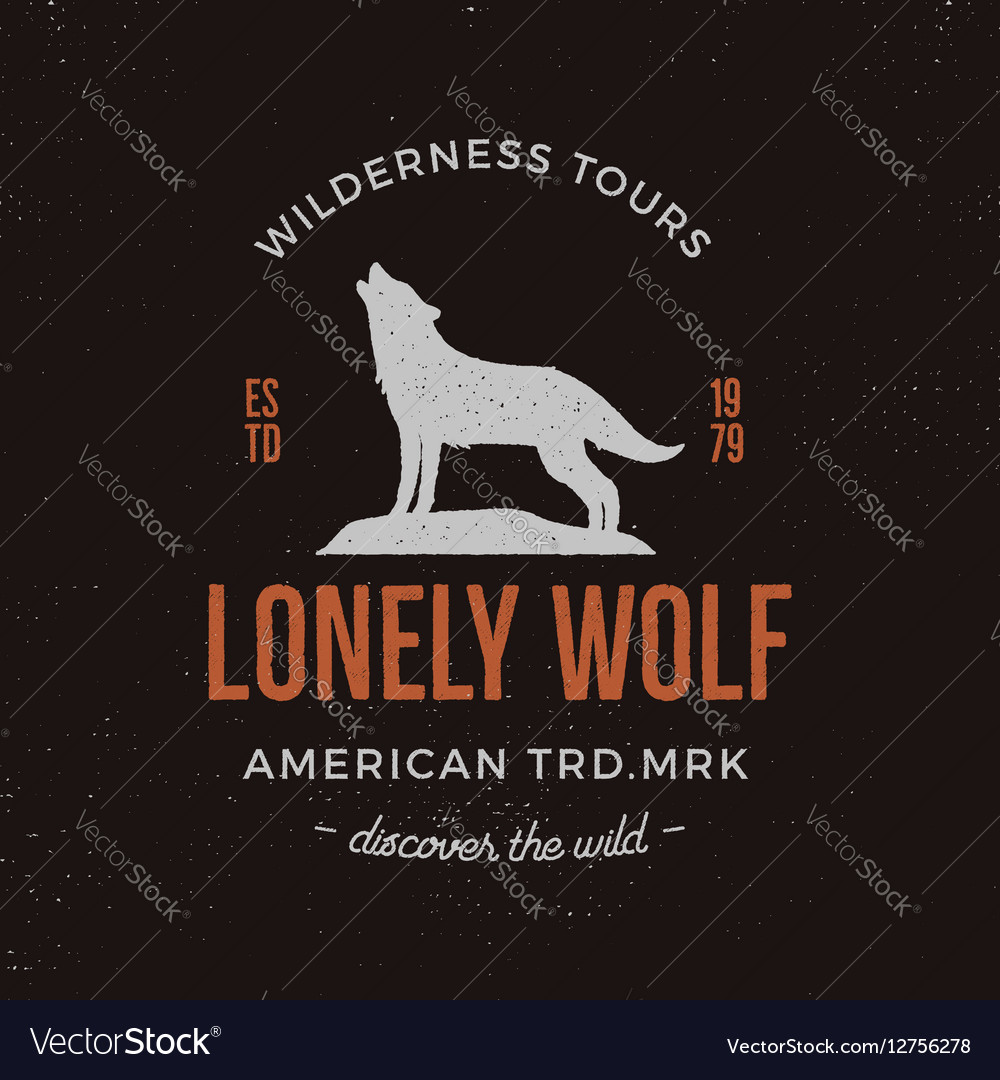 Old style wilderness label with wolf and