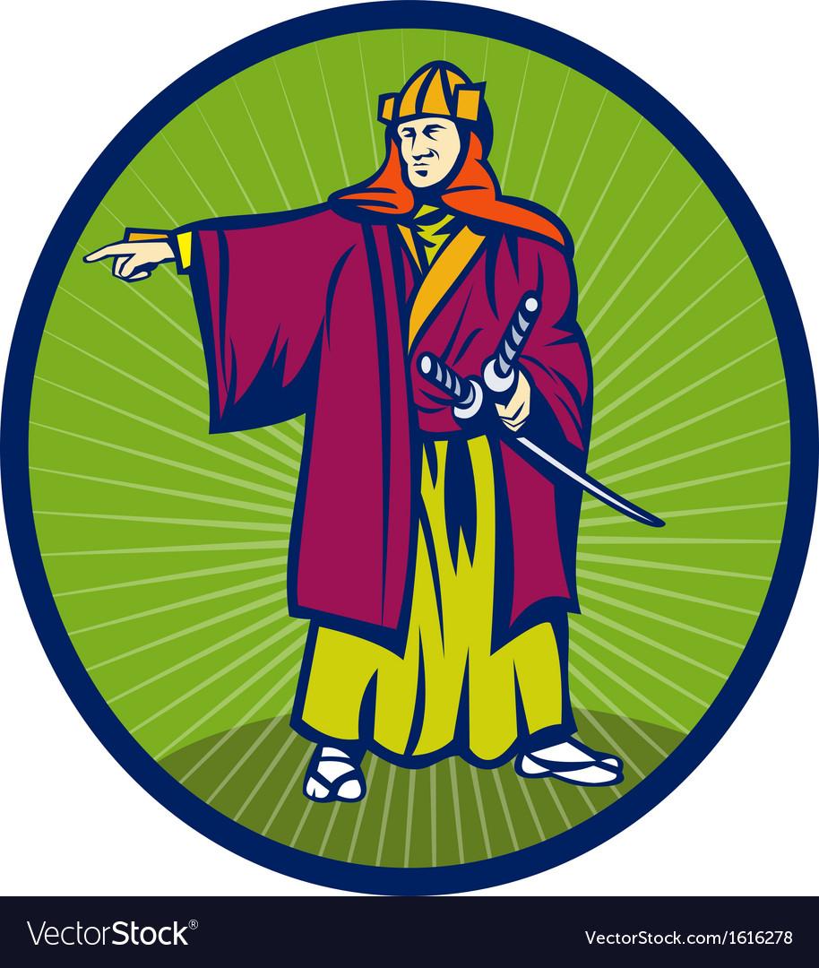 Samurai warrior with katana sword pointing side