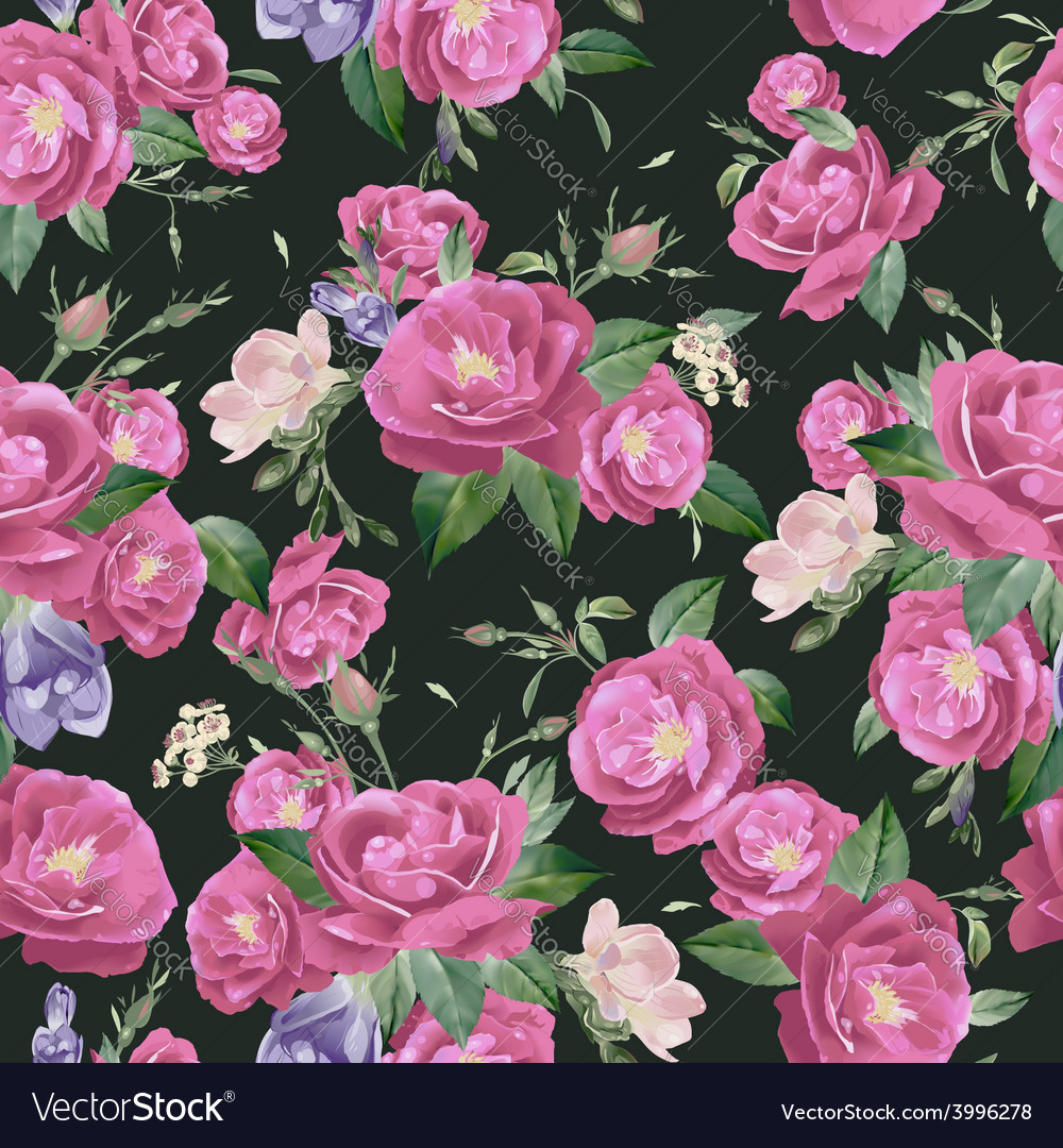 Seamless floral pattern with roses and freesia