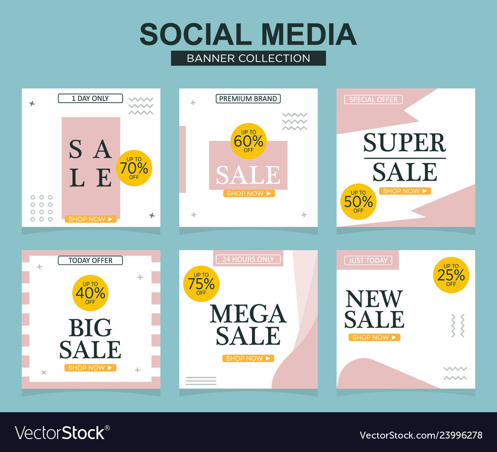 Social media banners pack for website and mobile