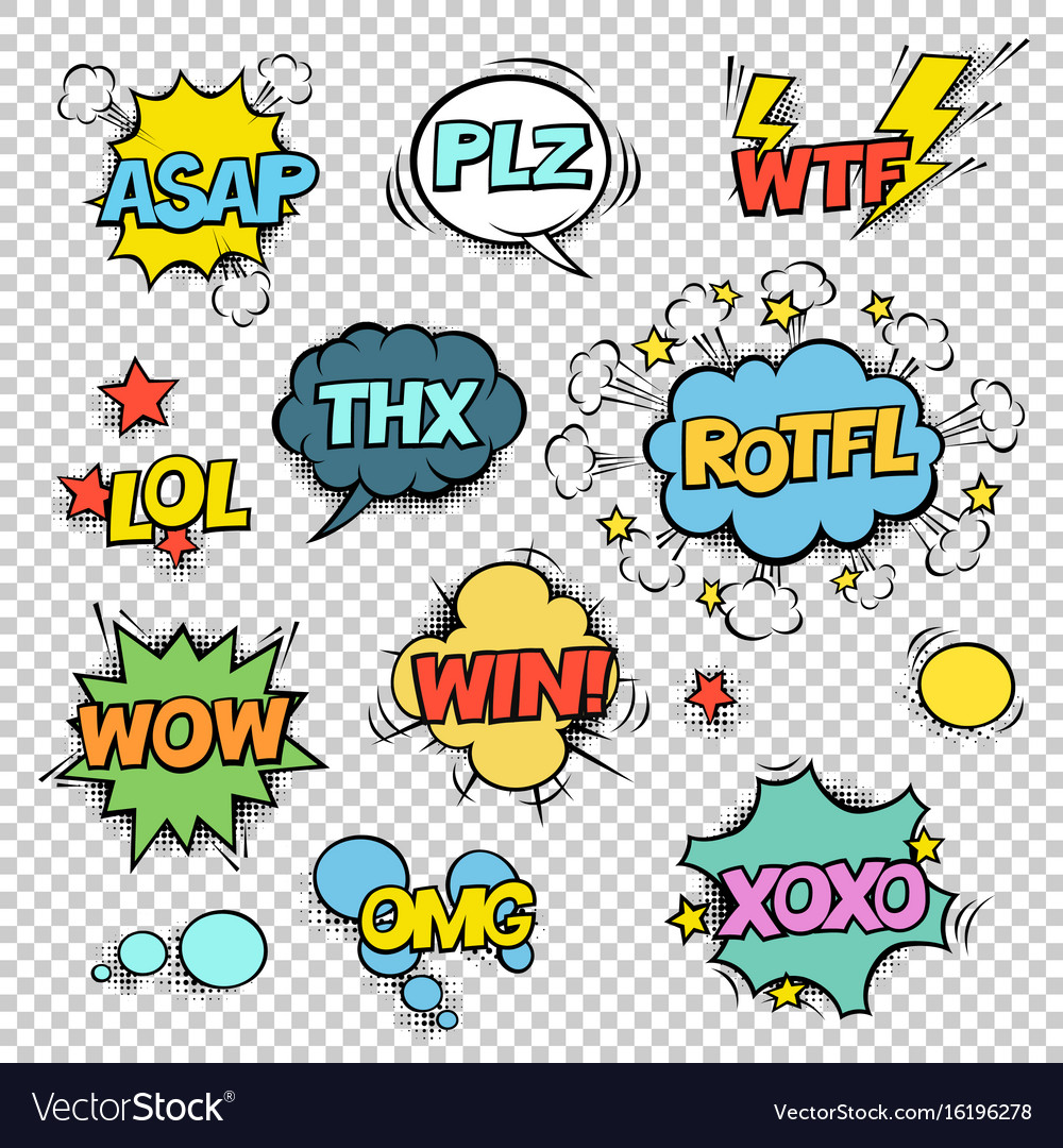 Thx asap plz wtf lol rotfl wow win omg xoxo comic vector image
