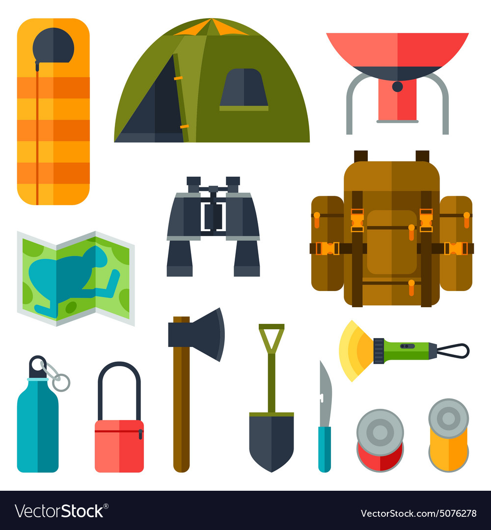 Tourist set of camping equipment icons in flat
