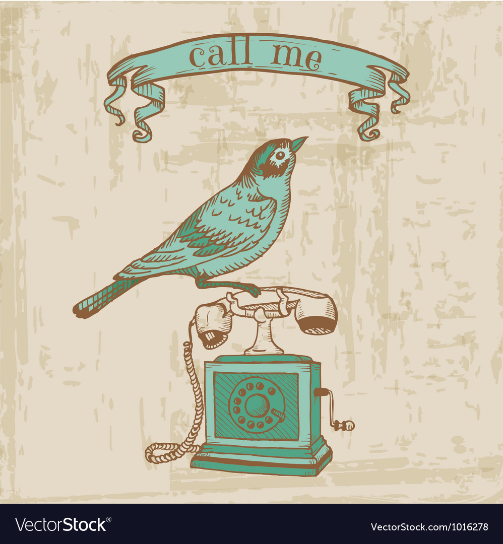 Vintage Telephone with a Bird