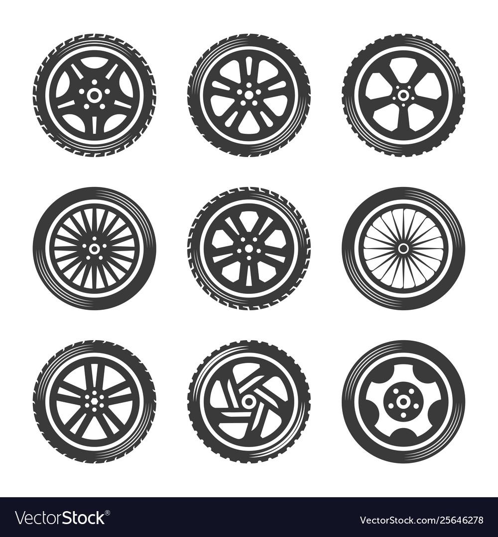 Wheels icon set cars