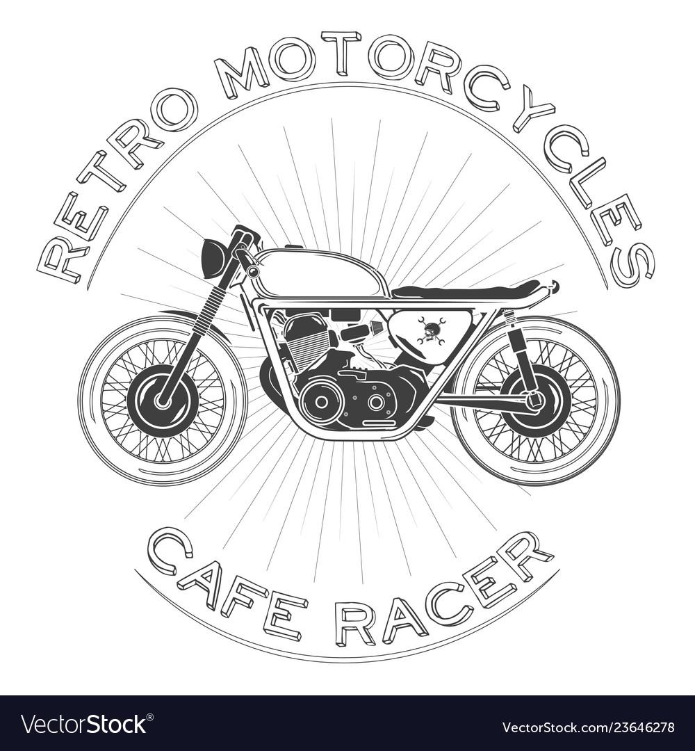 White caferacer logo retro motorcycle