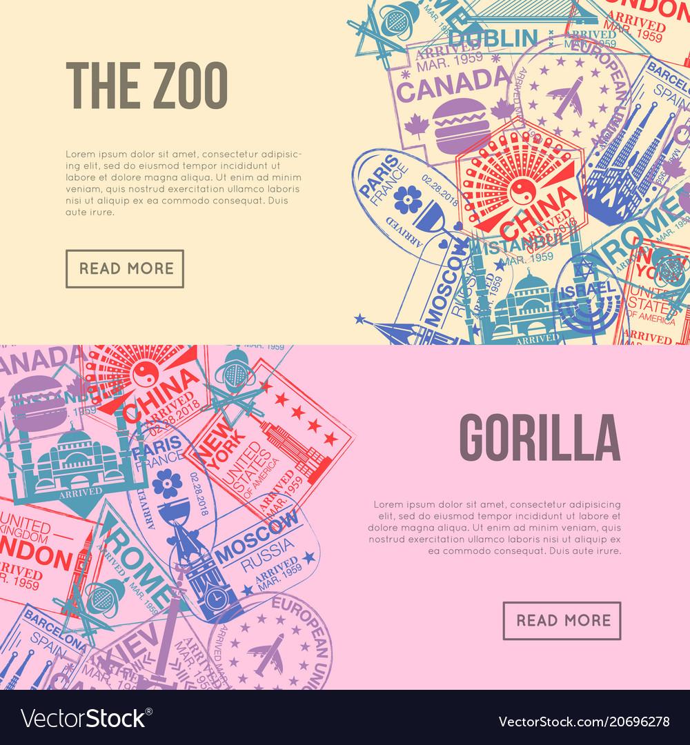 World visa rubber stamps horizontal flyers