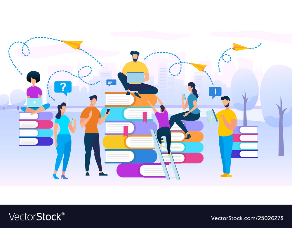 Young people stydying together sit on books heaps