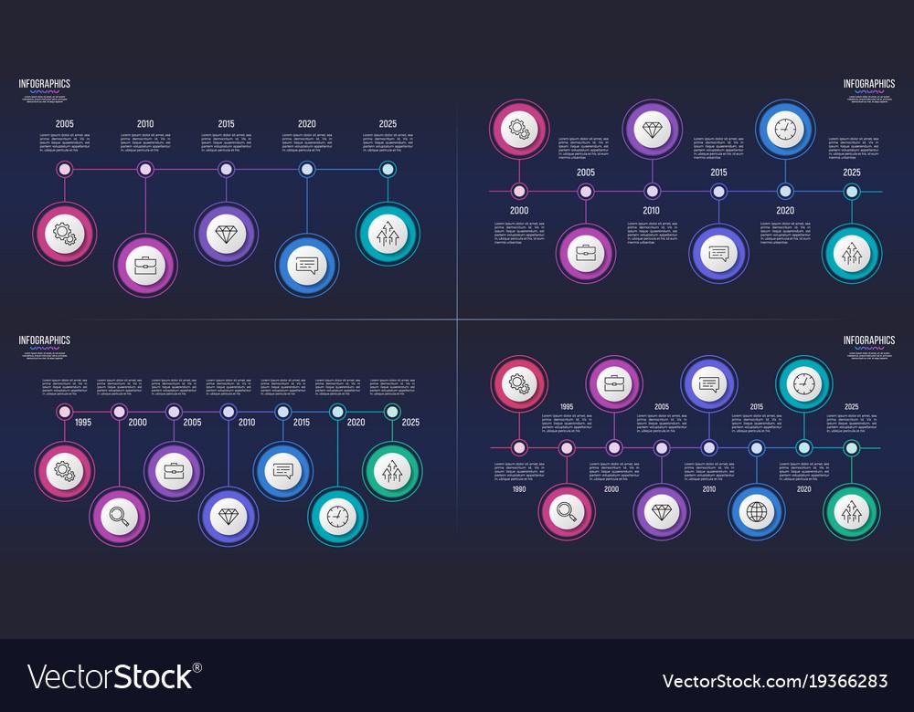 5 6 7 8 steps infographic designs timeline