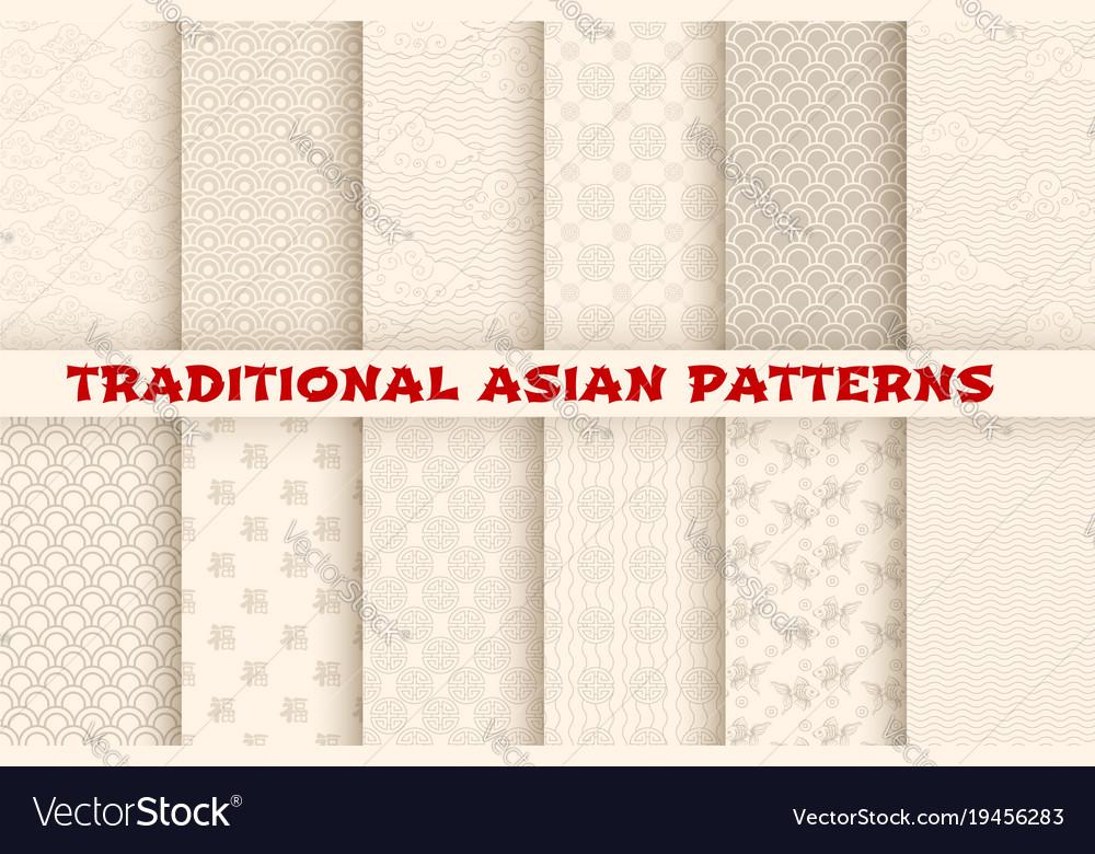 Asian chinese japanese seamless patterns