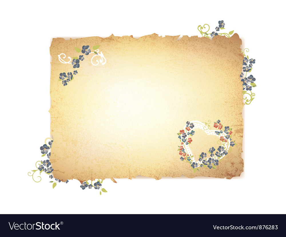 Burnt paper with forget me not flowers