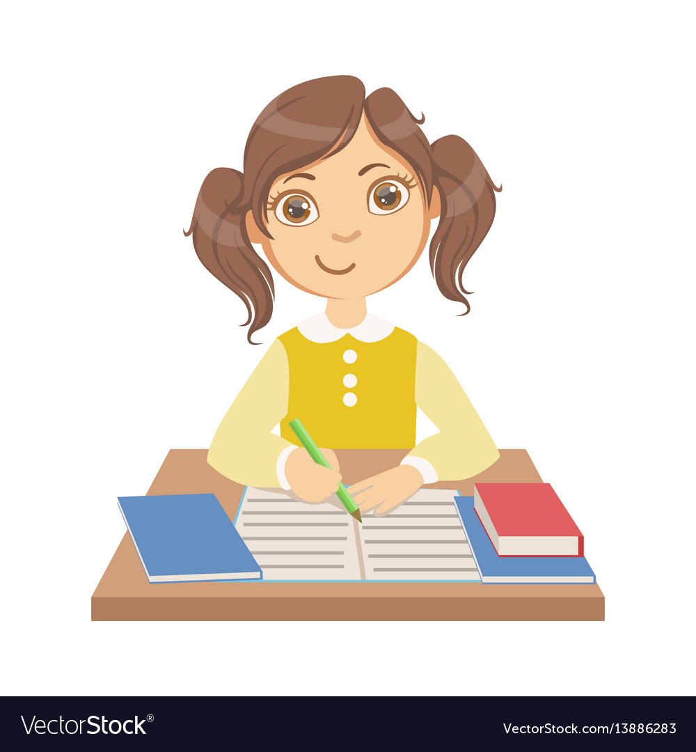 Cute little girl writing at school a colorful vector image