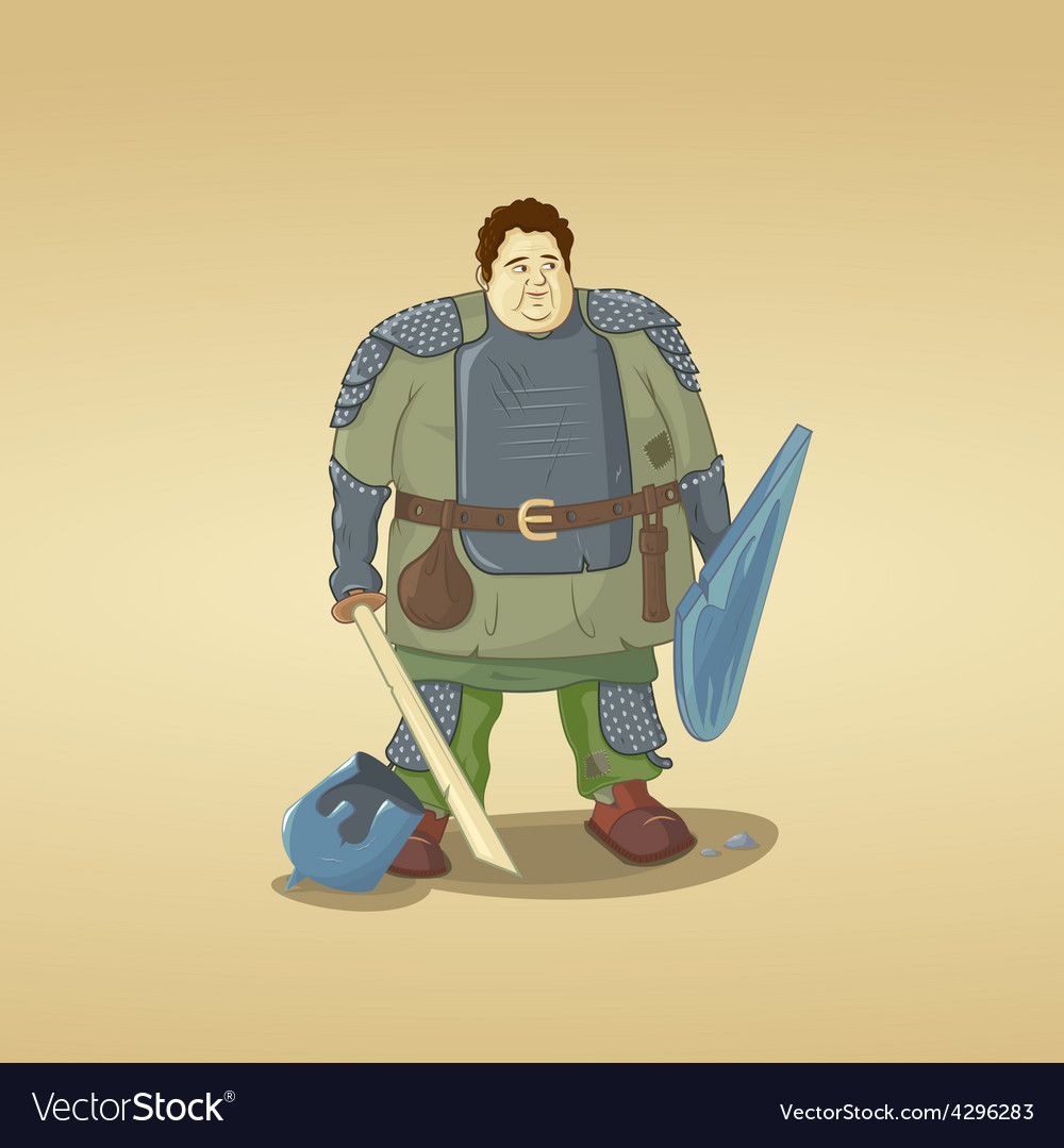 Fat guy dressed as a knight vector image