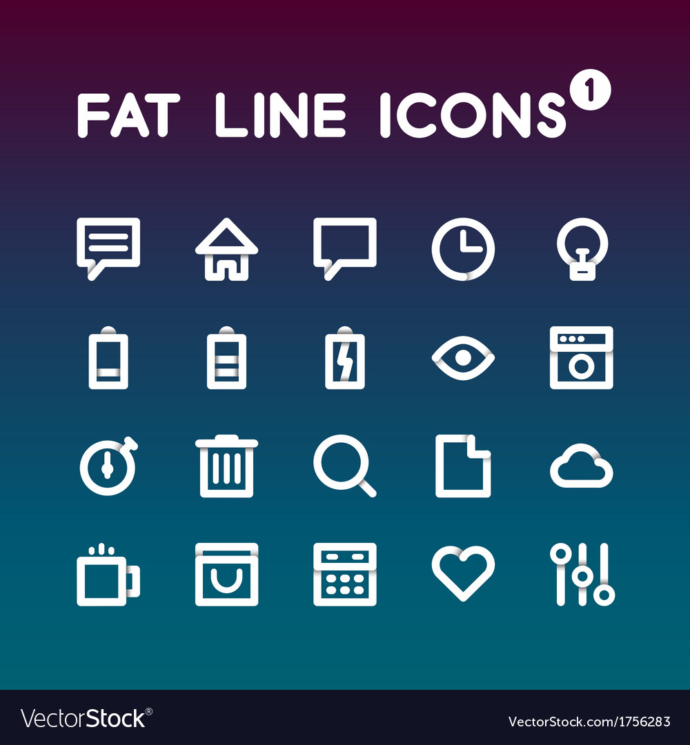 Fat Line Icons set 1
