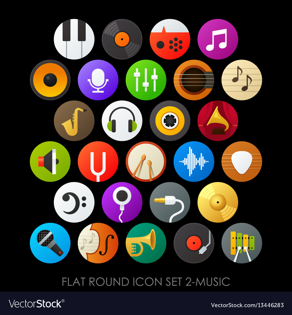 Flat round icon set 2-music vector image