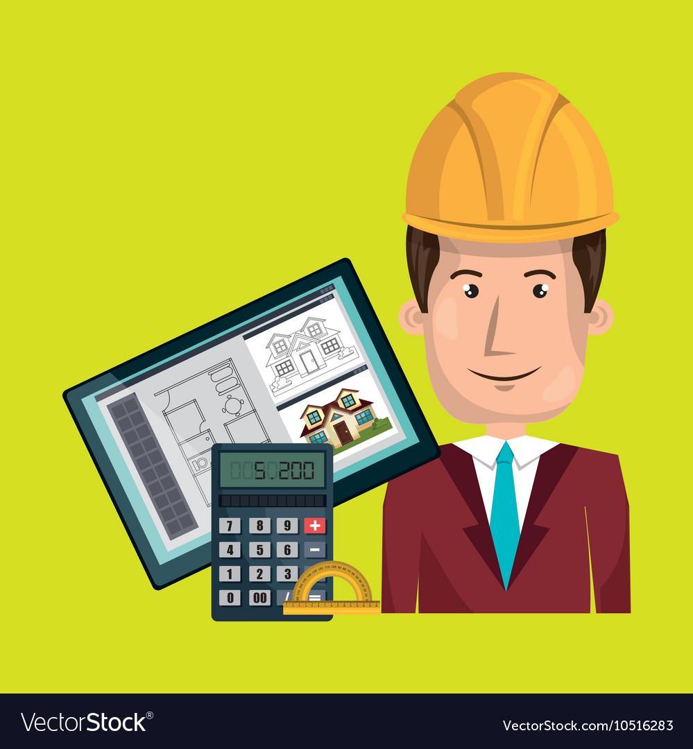 Man architect protractor calculator