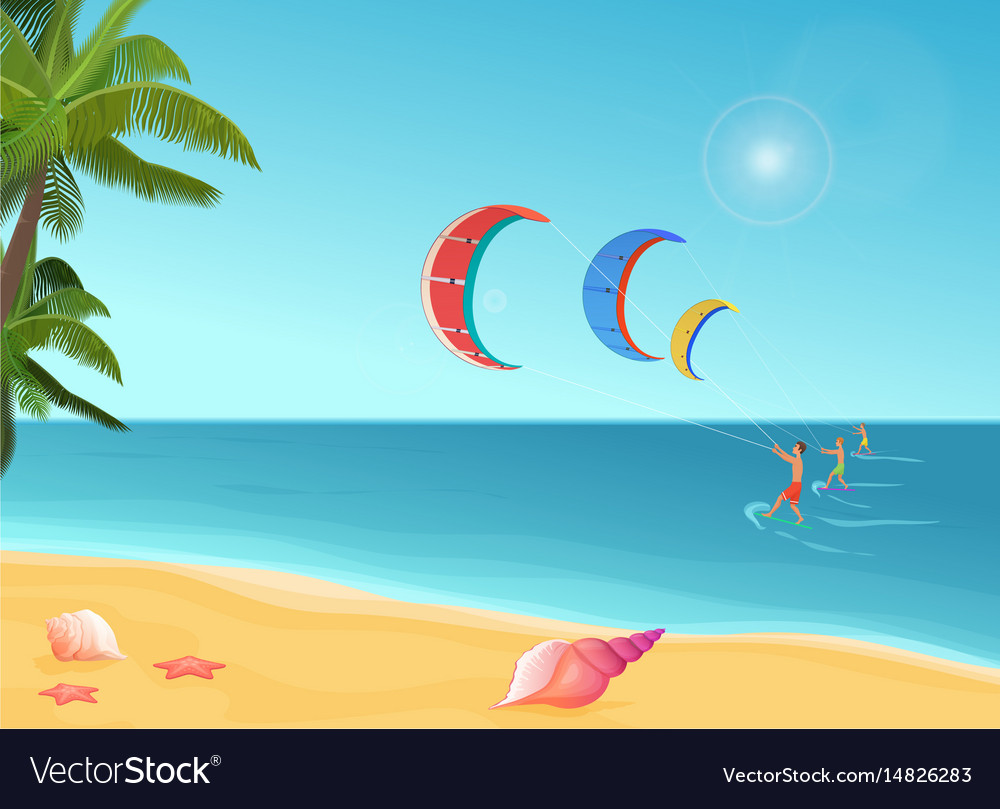 People with parachutes kiteboarding in sea