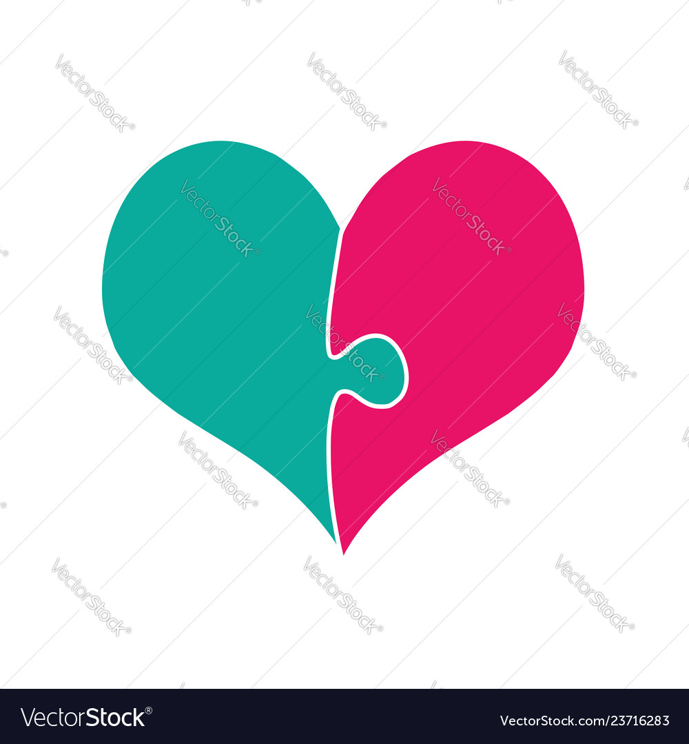 Pink and green heart assembled of two puzzle