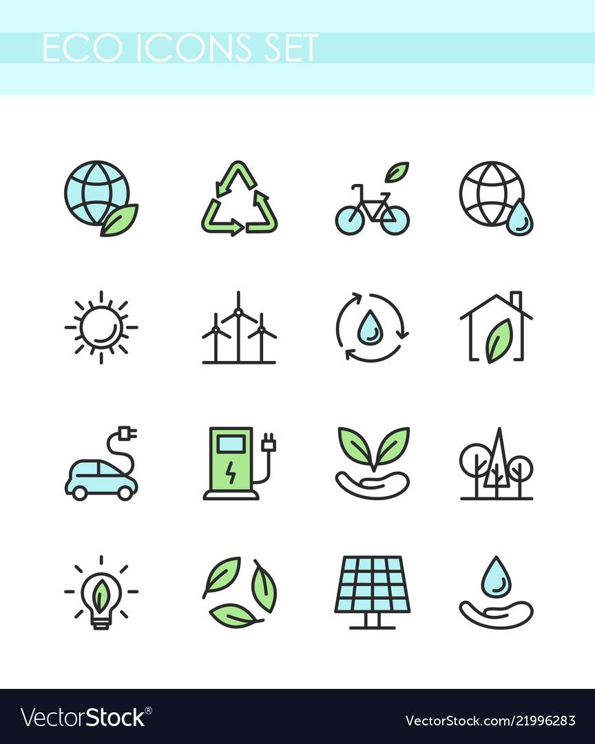 Set of eco icons ecology